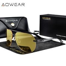 AOWEAR, без оправы, очки ночного видения, мужские, поляризационные, безопасные, для ночного вождения, очки, мужские, UV400, желтые, солнцезащитные очки, Gafas De Sol