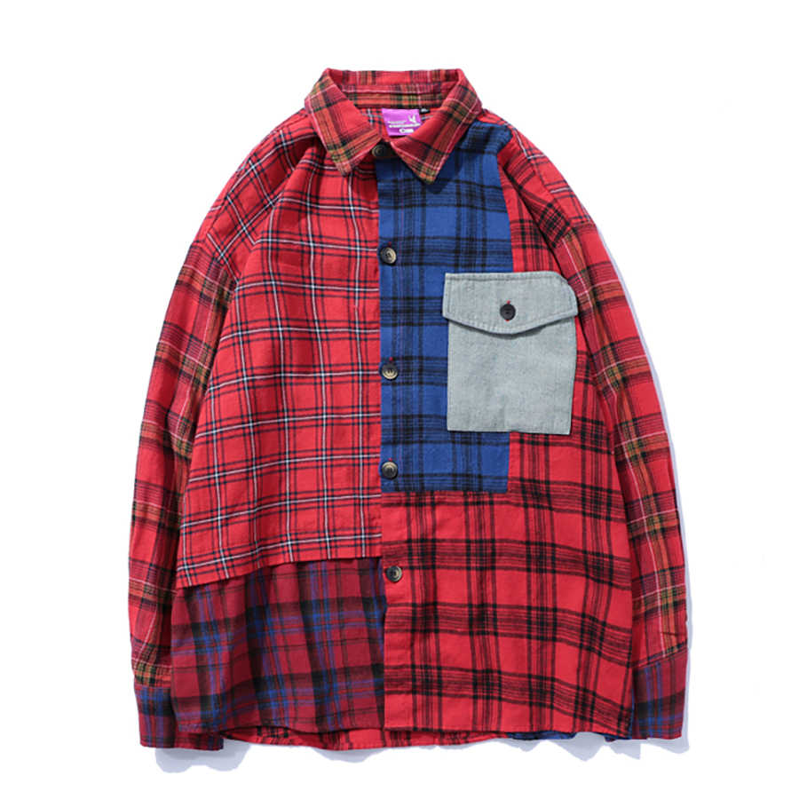 6e2536728 Plaid Casual Men Shirt Long Sleeve Vintage Loose Hip Hop Checked Mens Shirt  Patchwork Fashion Streetwear