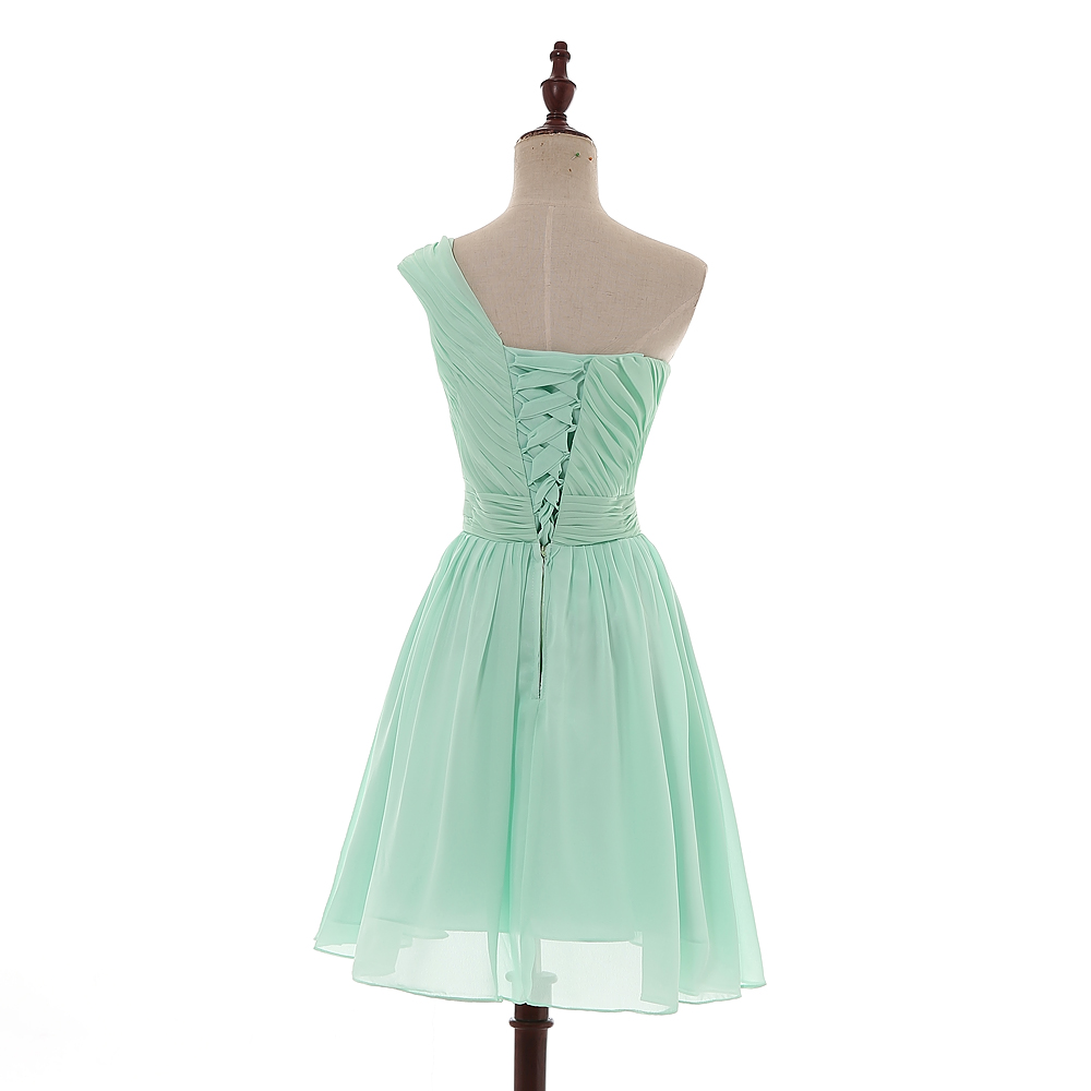 AXJFU robe de demoiselle d'honneur plissée en mousseline de soie vert menthe princesse vert col en v sans manches courte robes de demoiselle d'honneur 100% vraies photos - 4