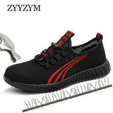 ZYYZYM Men Work Safety Boots Summer Outdoor Steel Toe Shoes Puncture Proof Protective Man Indestructible