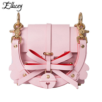 New 2017 Fashion Pink Bow Small Flap Bags Ladies Mini Shoulder Bag PU Leather Handbags Women