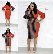 2019 new summer elegent fashion style african women plus size knee-length dress L-3XL