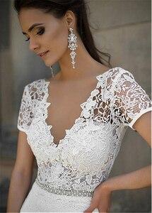 Image 4 - Junoesque laço & cetim decote em v vestidos de noiva sereia com bowknot mangas curtas vestidos de noiva