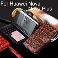 For Huawei Nova Case Plus Luxury Crocodile Snake Leather Flip Business Style Wallet Phone Cases For