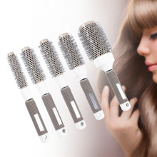MOONBIFFY Professional Hair Dressing Brushes Ceramic Iron Round Comb (19mm) 5 size Hair Styling Tool Hairbrush High Temperature