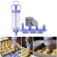 18pcs/set Biscuit Cookie Press Stamps Set DIY Baking Tools for Cake Maker Decorating with 8 Nozzles 10 Molds