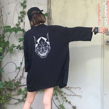 NiceMix 2019 Girls Ghost Mask Cardigans Female Half Sleeve VNeck Cardigan Summer Casual Japan Style Women Harajuku