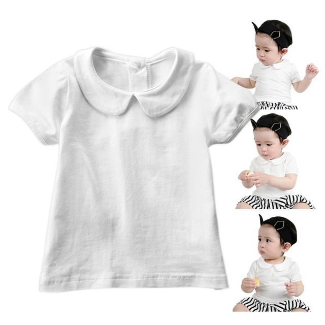 12e0b4f27d2c9 US $4.05 15% OFF|2017 New Style Summer Sweet Kids Baby Girls Short Sleeve  Cotton Puff Sleeve White T Shirt Girl Tee Tops Blouse S2-in Tees from  Mother ...
