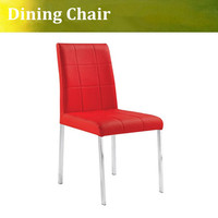 Stainess Steel Dining Chair Red Side Chair Dining Chair In PU Seating