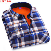 Winter Thermal Blouse Warm Shirt Men Long Sleeve Shirts Plaid Cotton Casual Flannel Shirts 6 Style