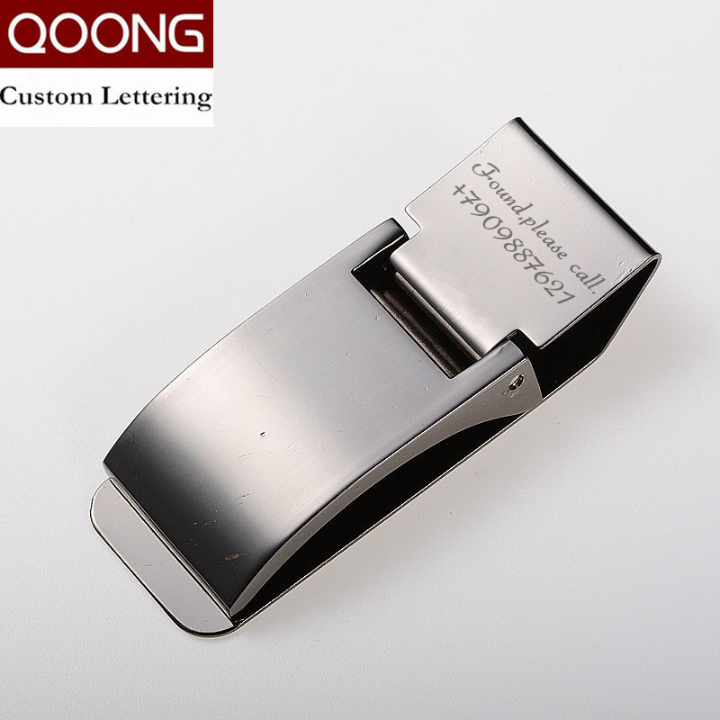 QOONG Custom Engraving Stainless Steel Three Colors Money Clip Holder Slim Pocket Cash ID Credit Card Metal Bill Clips Wallet