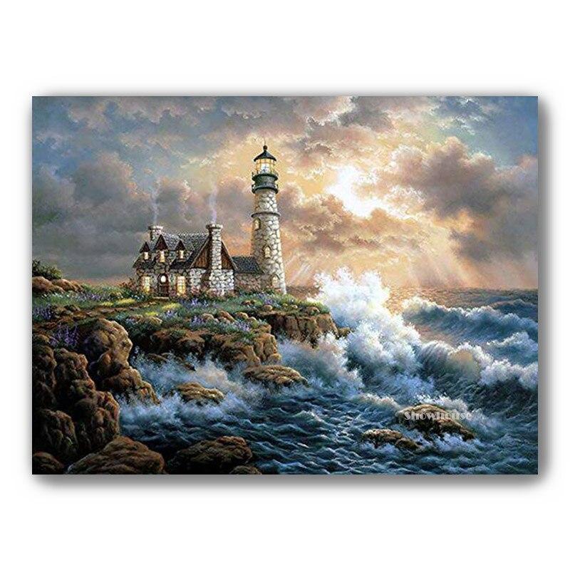 Diamant broderie phare en forte vague diamant peinture plein carré bord de mer paysage 3D bricolage point de croix strass peinture