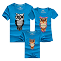 Hot Short sleeve t-shirts mother father baby matching summer tops short sleeve owl tees 9 colors family look outfits soft cotton