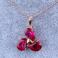 Elegant Red imitation Ruby Yellow Gold Plated Necklace Pendants Wedding Jewelry X0385  Free Shipping & Jewelry Bag