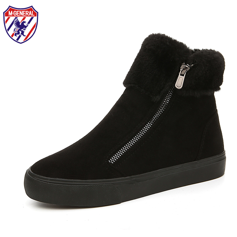 M.GENERAL Fur Female Warm Ankle Boots Women Winter Cotton Boots Snow Casual Canvas Shoes Woman Comfortable Zipper Shoe #MJ-0113