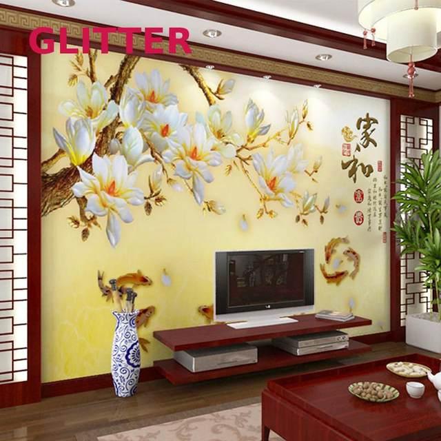 Modern flower wall murals chinese large mural wallpaper fresco retro white flowers wallpaper mural painting room wallpaper