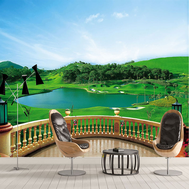 Photo Wallpaper 3D Stereo Balcony Golf Course Mural Living Room Bedroom TV Backdrop Wall Painting Green Eye Home Decor Wallpaper simulation mini golf course display toy set with golf club ball flag