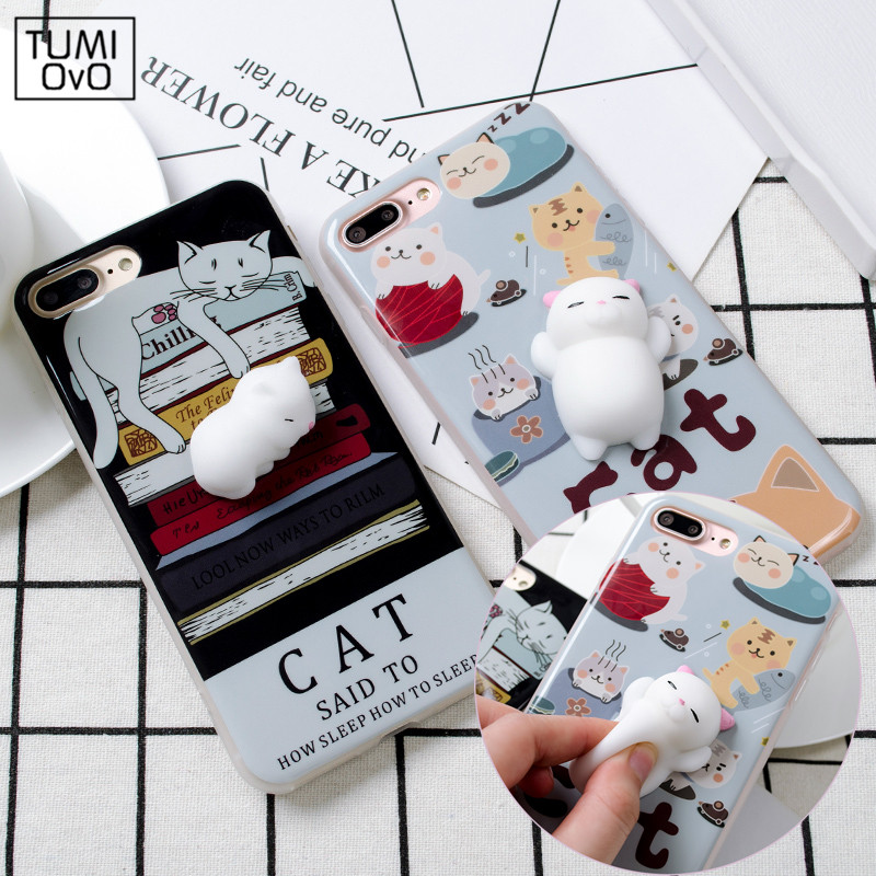 For iPhone 6 6S 7 Plus 3D Lovely Soft Squishy Silcone Sleep Cat China Panda Seal Silicon Cover Cases for iphone7Plus Coque