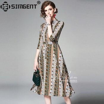 8c2e7c4ea Simgent camisa vestido de mujer de moda de verano de tres cuartos de la  manga una línea blusa Falda Midi de vestido de traje Vintage SG9571