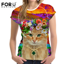 FORUDESIGNS Women T-shirt Summer Casual Tops Tees Teens Girls Kawaii Cat t shirts Bright O-Neck T Shirt Feminism