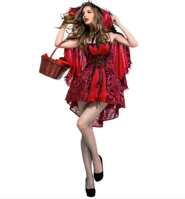 sexy Women Halloween Costume Little Red Riding Hooded Robe Lady Embroidery Dress Party Cloak Outfit  Adult queen nightclub A031