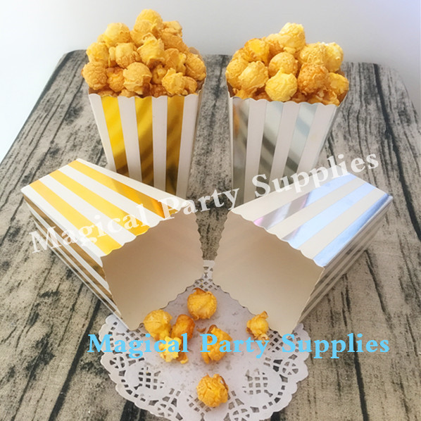 Free Shipping 36pcs Foil Gold Silver Popcorn Box for Home Theatre/Movie/Wedding Baby Sho ...
