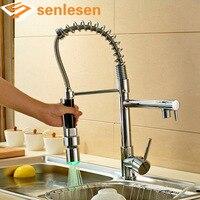 Wholesale And Retail Luxury Chrome Brass Kitchen Faucet LED Spout Swivel Sprayer Vessel Sink Mixer Tap