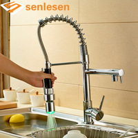 Wholesale And Retail Luxury Chrome Brass Kitchen Faucet LED Spout Swivel Sprayer Vessel Sink Mixer Tap Single Handle