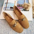 2017 New Shoes Woman Metal Genuine leather Flat Shoes Women Square Toe Flats Spring Shoes for Women Chaussure Femme