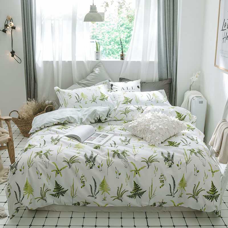 2018 Pastoral Green Leaves Print Bedding Set Cotton Twin Queen Size 3/4Pc Duvet Cover Flat Sheet/Fitted Sheet Pillow Cases