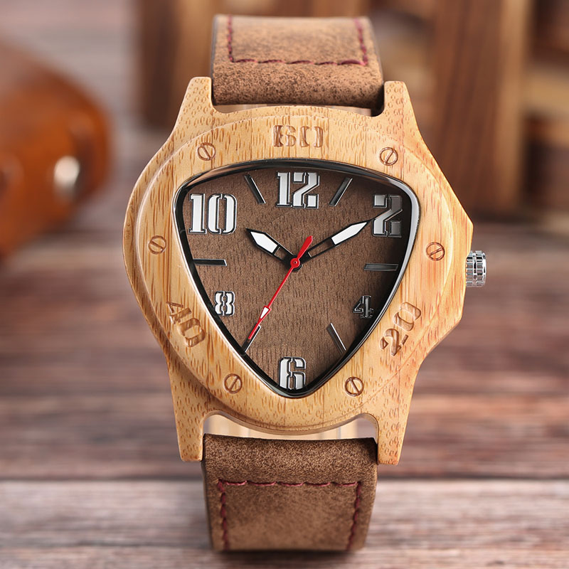 YISUYA Mens Watches Unique Triangle Mysterious Wooden Bamboo Quartz-watch Handmade Genuine Leather High Quality Male Clock Gift fashion cool punk rock design men quartz wooden watch modern black genuine leather watchband unique wood watches gift for male