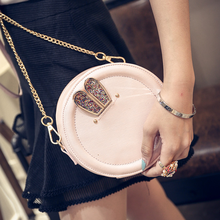 The trend of fashion rabbit ears paillette rivet small round package chain bag messenger bag handbag women's
