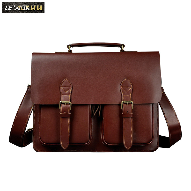 Le'aokuu Men Real Leather Antique Style Briefcase Business 14