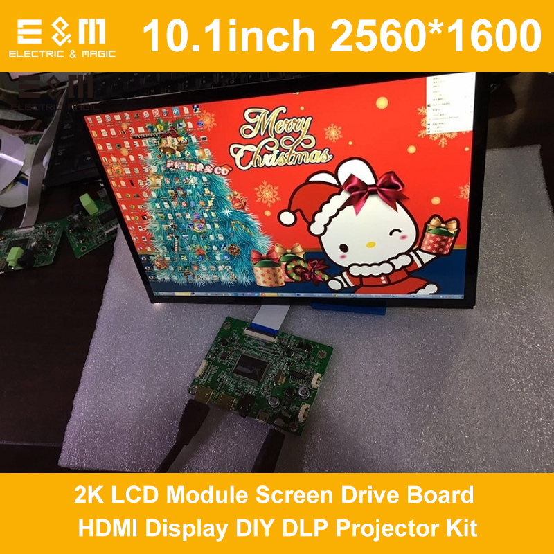 10.1 Inch 2560*1600 WQXGA 2K DLP Projector Monitor LCD Module Screen Drive Board HDMI Display DIY Kit SLA Light Cure 3D Printer