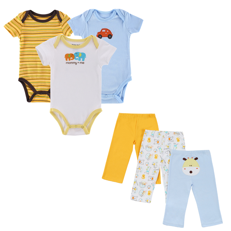 2017 New 6 pieces/Set Baby Girl Rompers Pants Summer Style Newborn Baby Clothing Sets Boy Cotton Conjuntos 6 size new 2014 summer baby