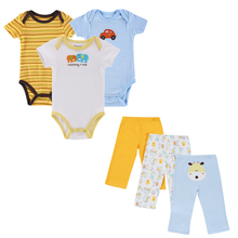 2017 New 6 pieces/Set Baby Girl Rompers Pants Summer Style Newborn Baby Clothing Sets Boy Cotton Conjuntos