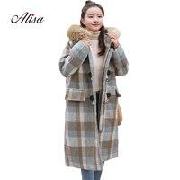 Fashion Faux Fur Plaid Long Coat 2018 New Women Winter Long Sleeve Hooded Loose Woollen Female Overcoat Double Breasted Jacket