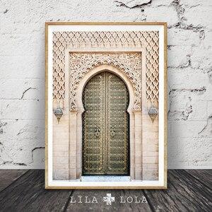 Марокканский портал, серая деревянная дверь, украшение для дома, настенная живопись, холст, постеры и принты, настенные картинки для гостино...