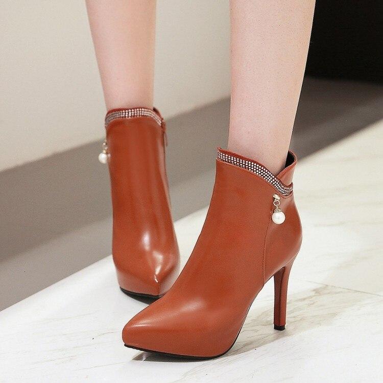 autumn new ladies ankle boots for women platform wedding boots short plush super high heels shoes woman hot sale &M-4