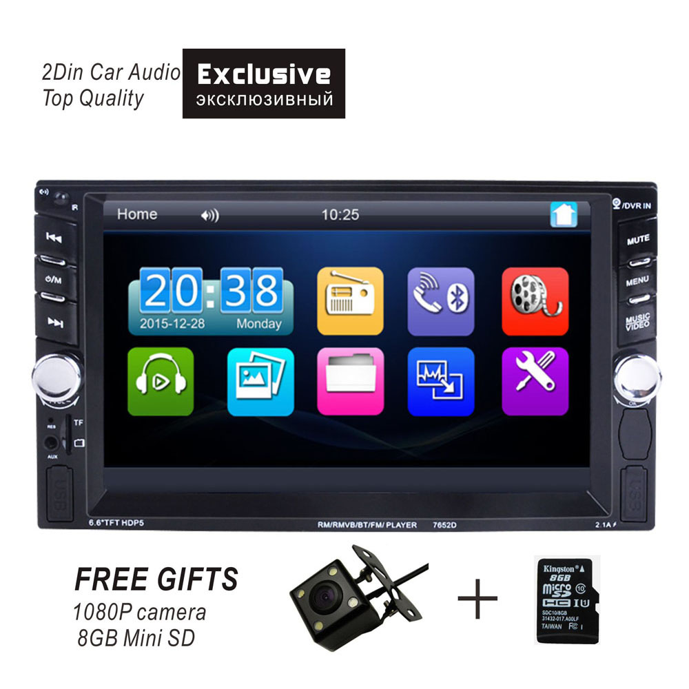 Auto car radio stereo bluetooth player with touch screen video player FM MP3 MP5 USB rear view camera ISO connector