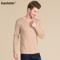 20% Silk 20% Wool 60% Cotton Man's T shirts Autumn Winter Full Long Sleeve V Neck Male Bottoming MenT Shirts Tops Jersey