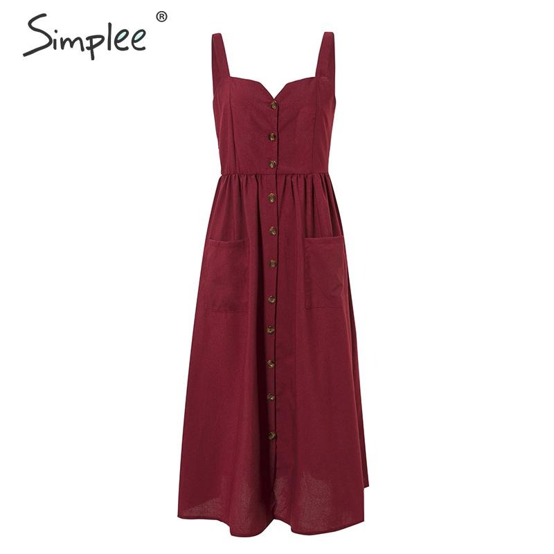 CUERLY Bohemian plus size solid women dress Summer beach style spaghetti strap sundress Elegant vintage button midi dress 2019 in Dresses from Women 39 s Clothing
