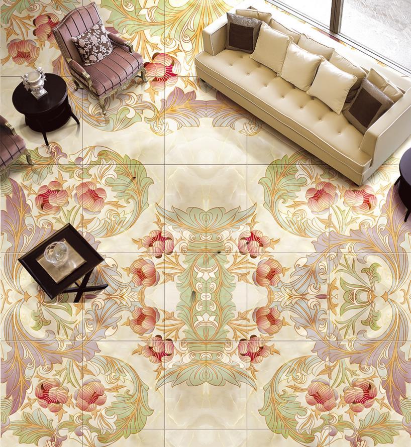 Benutzerdefinierte 3d Boden Tapetenwandbilder Marmor Mosaik Fliesen Wohnzimmer Aufkleber Vinyl Bodenbelag Bad