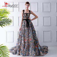 2018 New Collection Amazing Vintage Arabic Sequins Lace Material Sexy See Through Evening Prom Dress Formal Long Party Gown