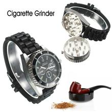 1pc Wrist Watch Men Hour 2 Layers Aluminum Watch Herb Crusher Metal Cigar Grinder Tobacco Smoke Quartz Wristwatches Gift Relogio