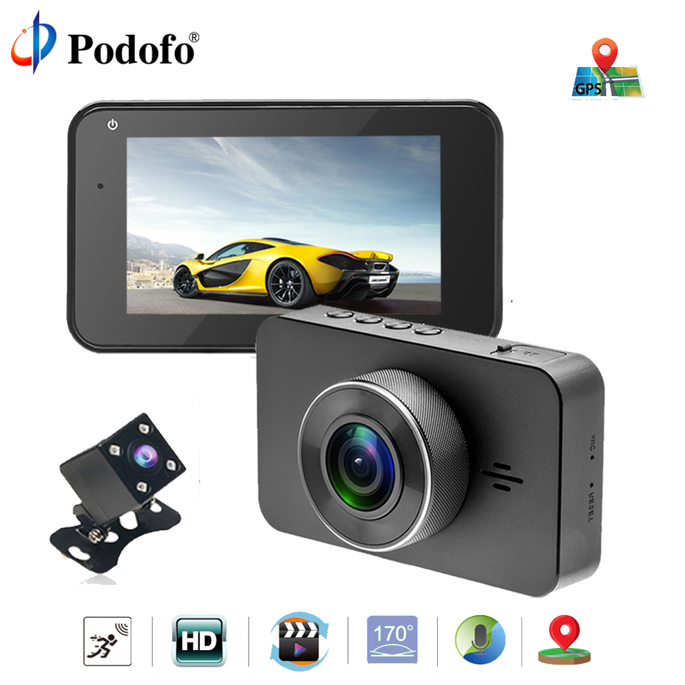 "Podofo 3 "" IPS Dash cam ADAS/LDWS Car DVRs Recorder Vehicle Camera Built in GPS Camcorder 2160P Night Vision Dashcam Dual Lens"