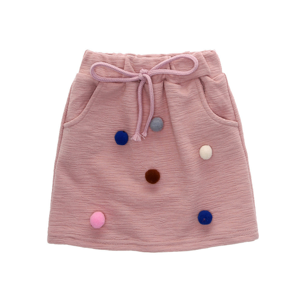9fa3eea418 High quality Fashion Warm Toddler Kids Baby Girl Pom Pom Pullover Solid  Sweatshirt Tops+Skirt Outfit girls clothing set 3T-7T