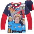 Primavera outono moda infantil t - camisas de algodão meninos roupas de mangas compridas dos desenhos animados Fireman Sam Patterm das camisas das camisetas 2015 marca encabeça