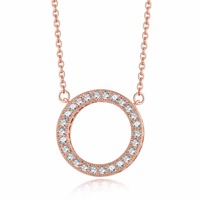 Pandulaso Rose Golden Crystal Choker Necklaces for Women & Men Clear CZ Sterling Silver Jewelry Statement Necklace Round Pendant