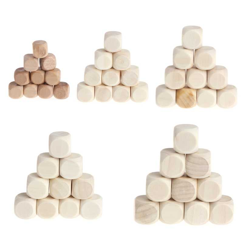 Wholesale 10pcs 6 Sided Blank Wood Dice Party Family DIY Games Printing Engraving Kid Toys